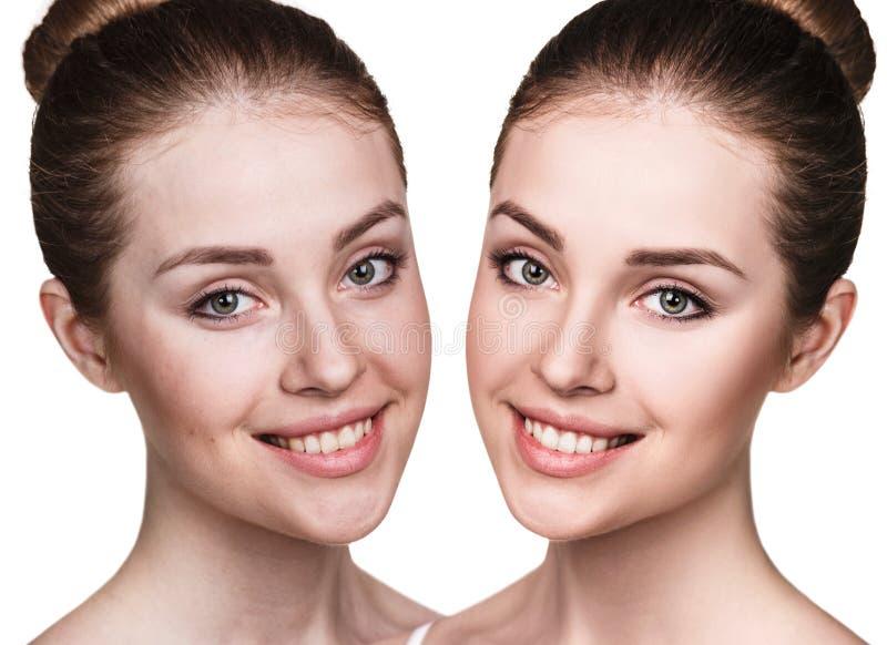 La mujer joven antes y después de retoca imagen de archivo