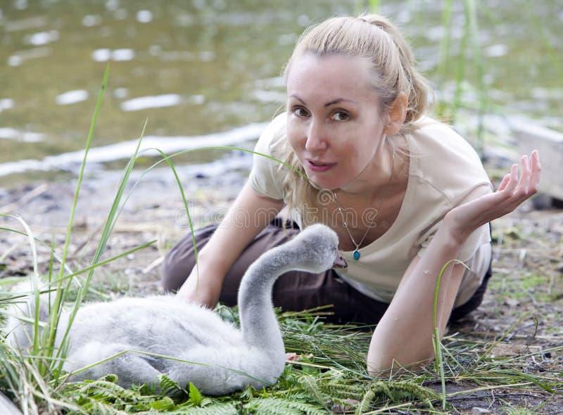 La mujer joven cerca de un pájaro de bebé de un cisne en el banco del lago imágenes de archivo libres de regalías