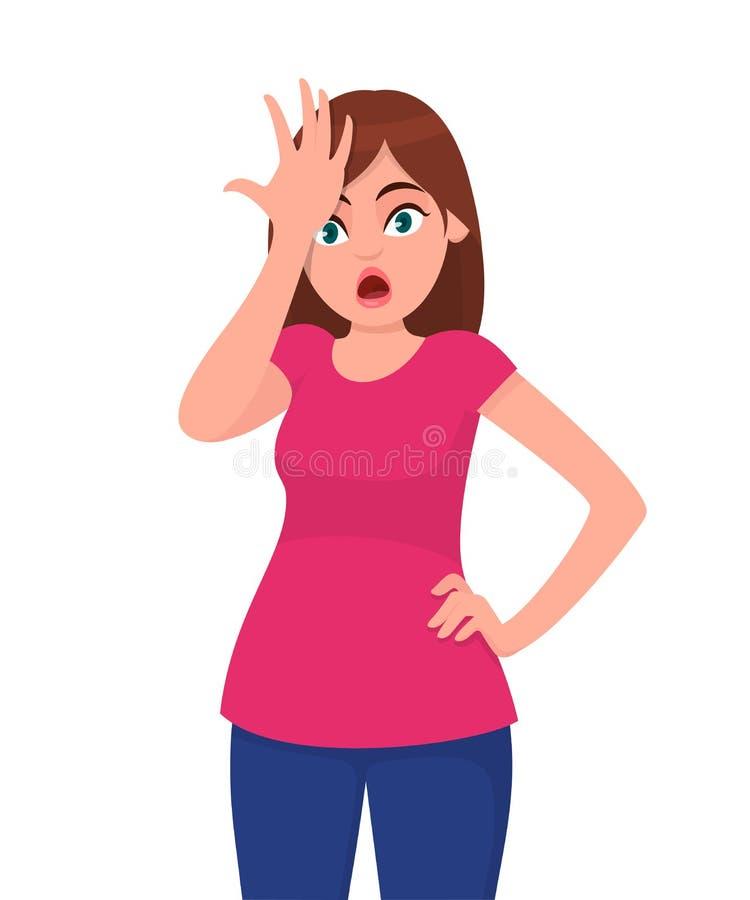 La mujer joven chocada con la mano encendido va a error, recuerda error Olvidó, mala memoria Concepto humano de la emoción y del  ilustración del vector