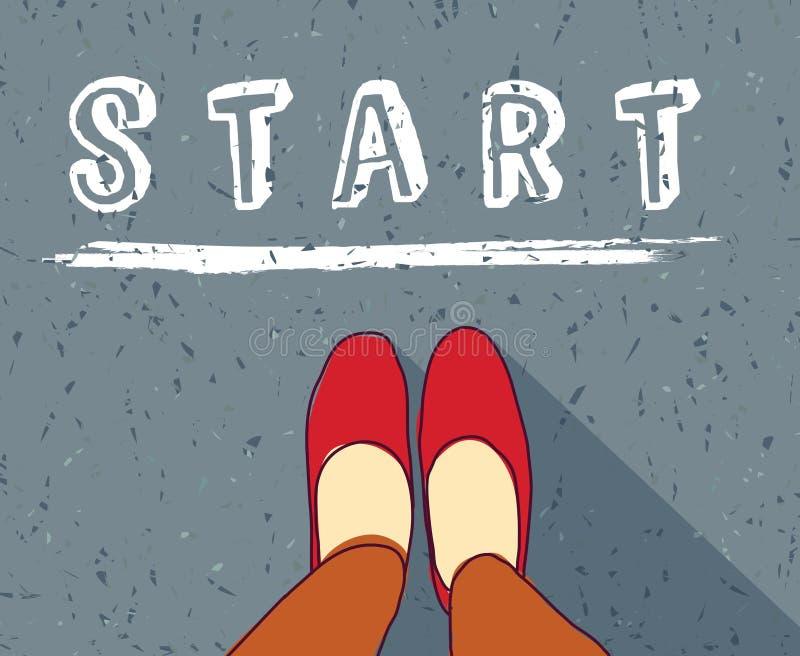 La mujer joven comienza la línea nueva vida del comienzo de la manera libre illustration