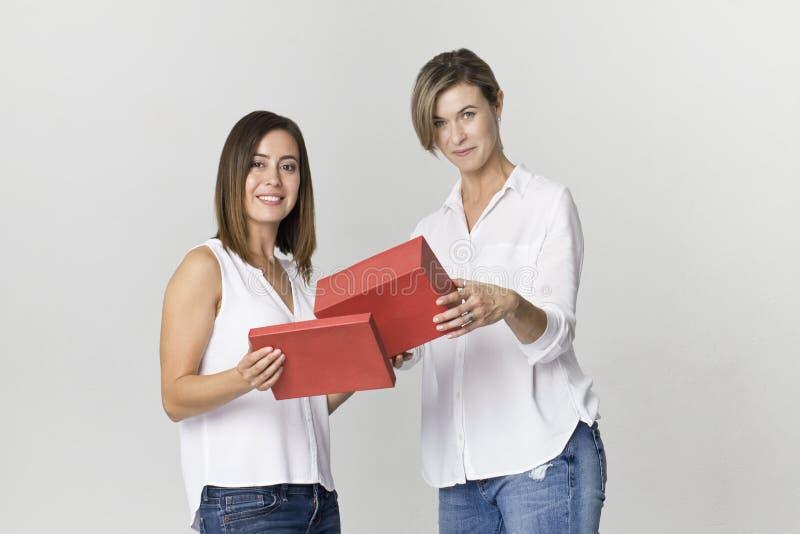 La mujer joven da un regalo a su amigo Escena sonriente de dos mujeres fotos de archivo libres de regalías