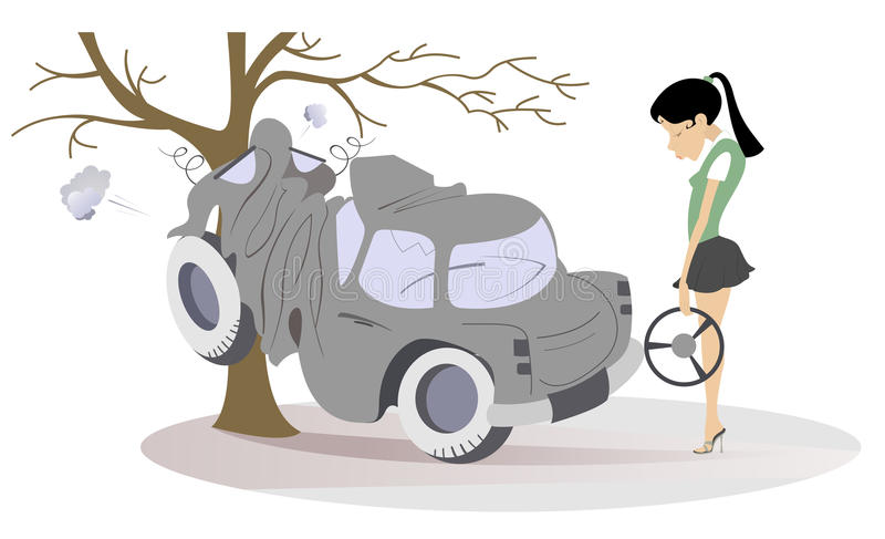 La mujer joven de la historieta tiene en un accidente de carretera stock de ilustración