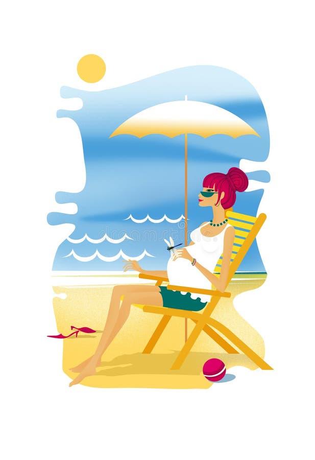 La mujer joven embarazada se sienta en un deckchair en la orilla de mar con el paraguas del sol Libélula en la mano stock de ilustración