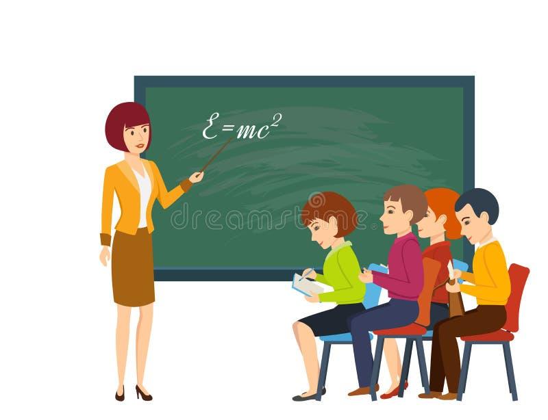 La mujer joven en sala de clase, enseña a estudiantes y dice el material informativo libre illustration