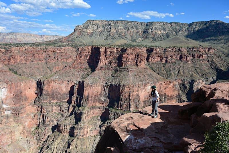 La mujer joven en Toroweap pasa por alto en Grand Canyon fotografía de archivo