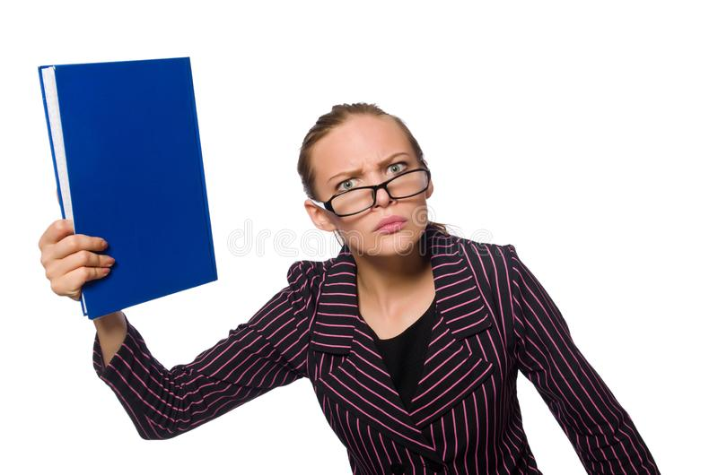 La mujer joven en traje p?rpura con las notas imagenes de archivo