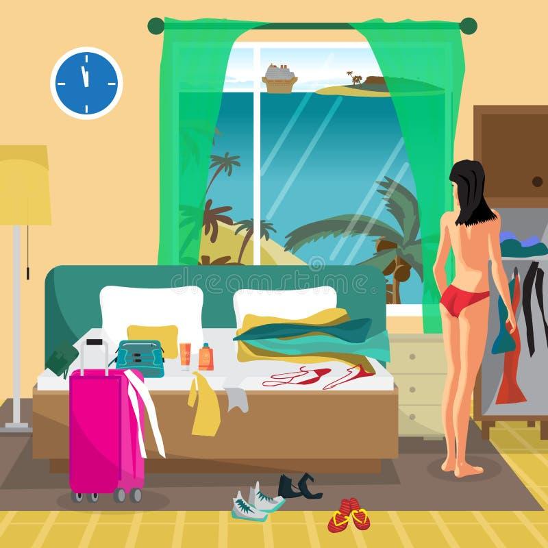 La mujer joven en una habitación en un centro turístico tropical va a stock de ilustración