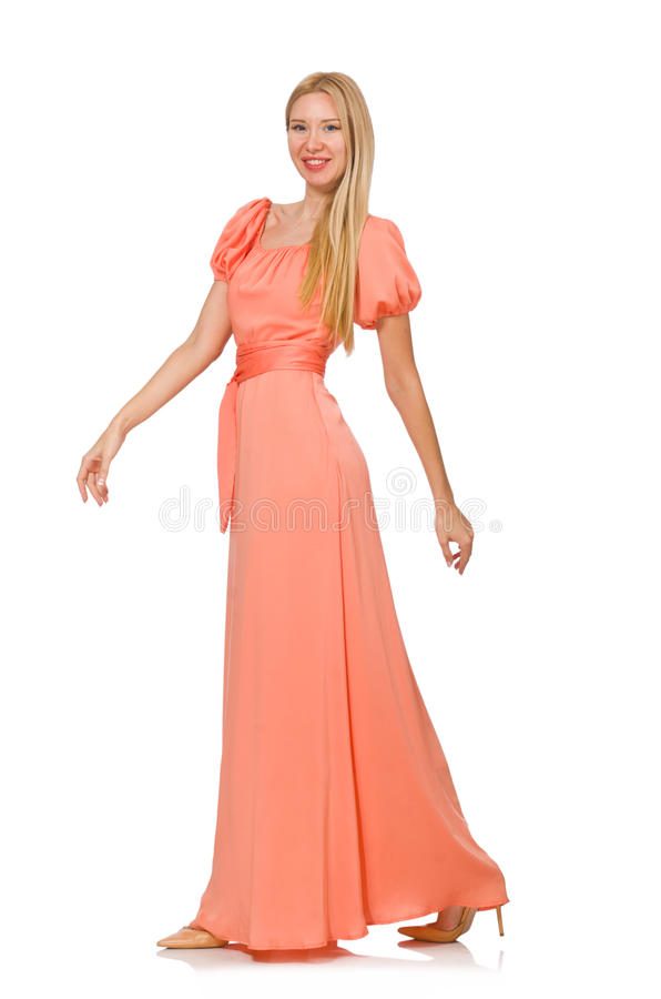 La mujer joven en vestido romántico rosado foto de archivo libre de regalías