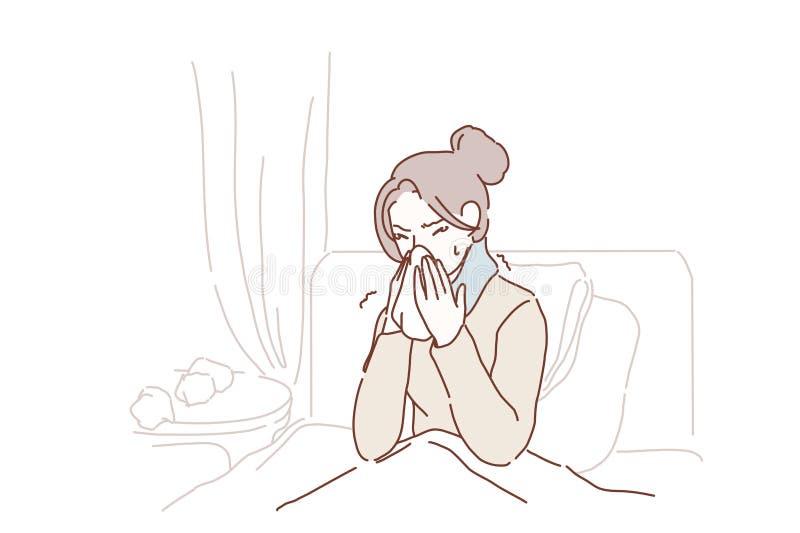 La mujer joven enferma cogió el estornudo frío en tejido en casa, muchacha alérgica enferma que soplaba limpiando la nariz corrie ilustración del vector