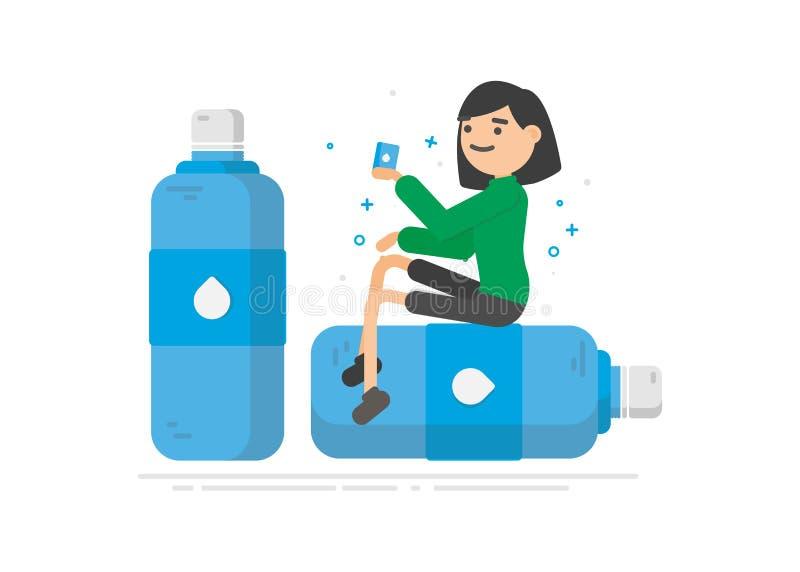 La mujer joven es agua potable de una botella plástica libre illustration