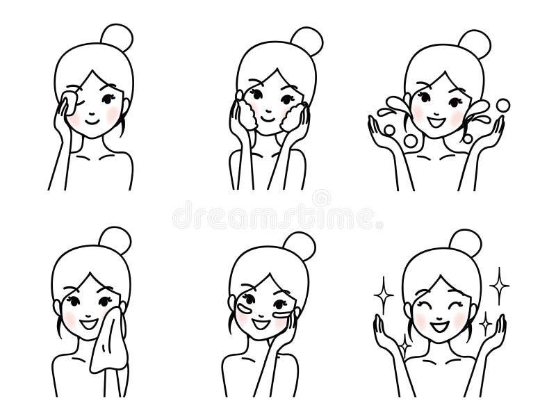 La mujer joven está limpiando la cara libre illustration
