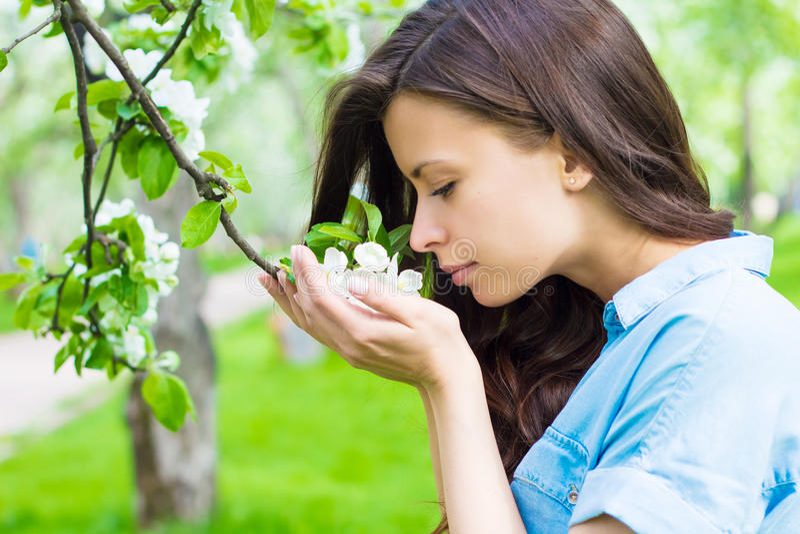 La mujer joven está oliendo la flor de la manzana imágenes de archivo libres de regalías