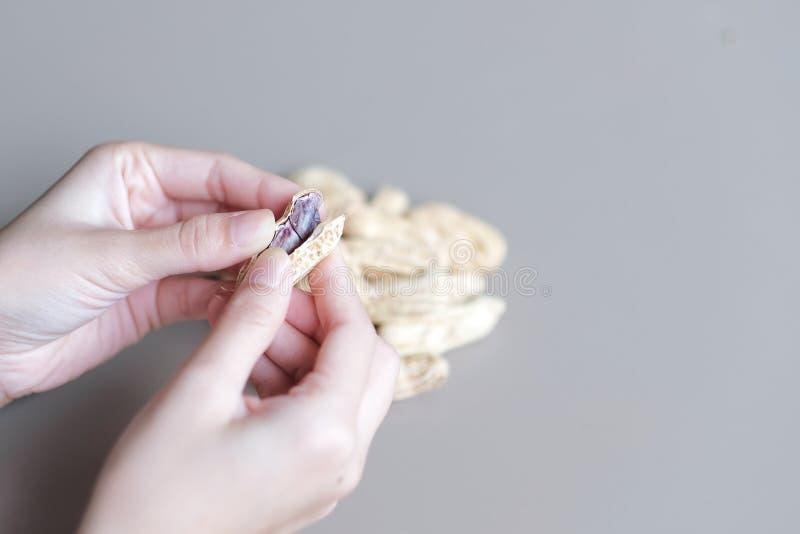 La mujer joven está quitando los cacahuetes de la cáscara para comer imagenes de archivo