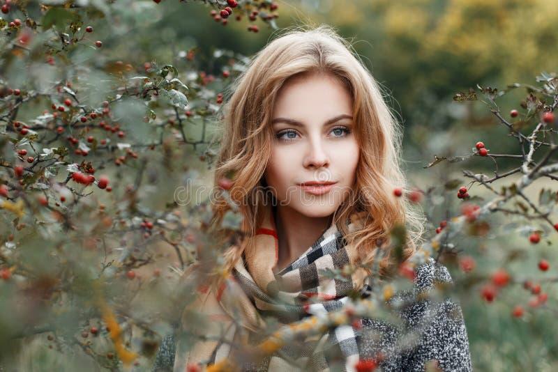 La mujer joven europea bonita hermosa en una capa elegante otoñal en una bufanda beige a cuadros del vintage se relaja al aire li fotografía de archivo libre de regalías