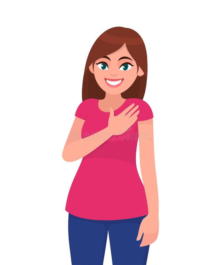 La mujer joven hearted buena de mirada agradable guarda la mano en pecho, expresa gratitud, siendo agradecida para la ayuda y la  ilustración del vector