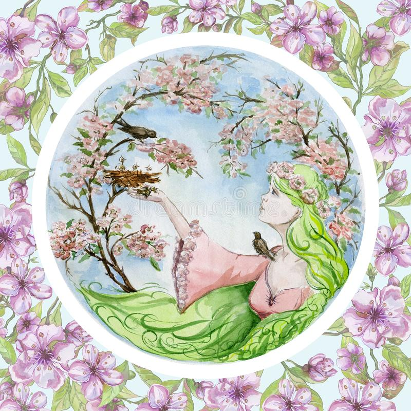La mujer joven hermosa con el pelo del verde largo ahorra un pájaro de bebé que ha caído de la jerarquía contra árboles de la pri stock de ilustración