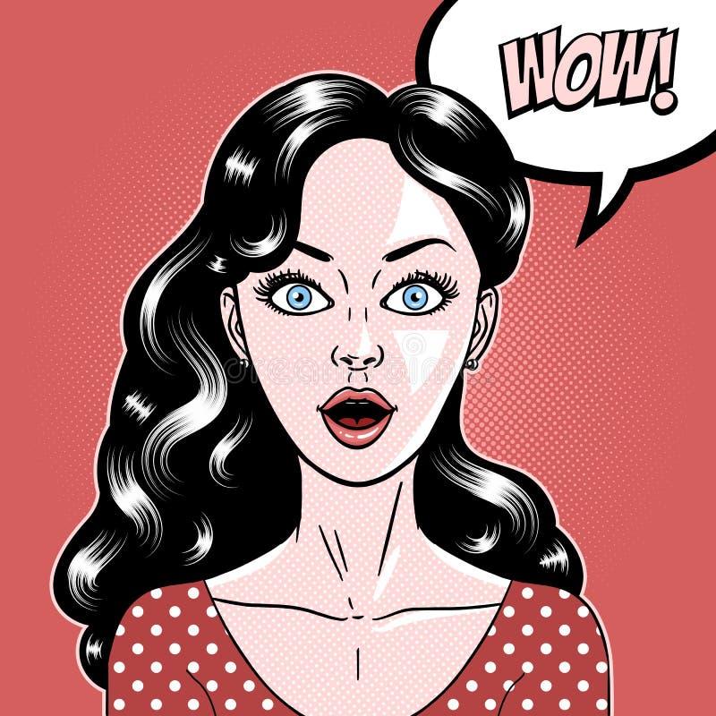 La mujer joven hermosa del estilo cómico sorprendió la expresión, boca abierta, omg, guau, arte pop, ejemplo del vector ilustración del vector