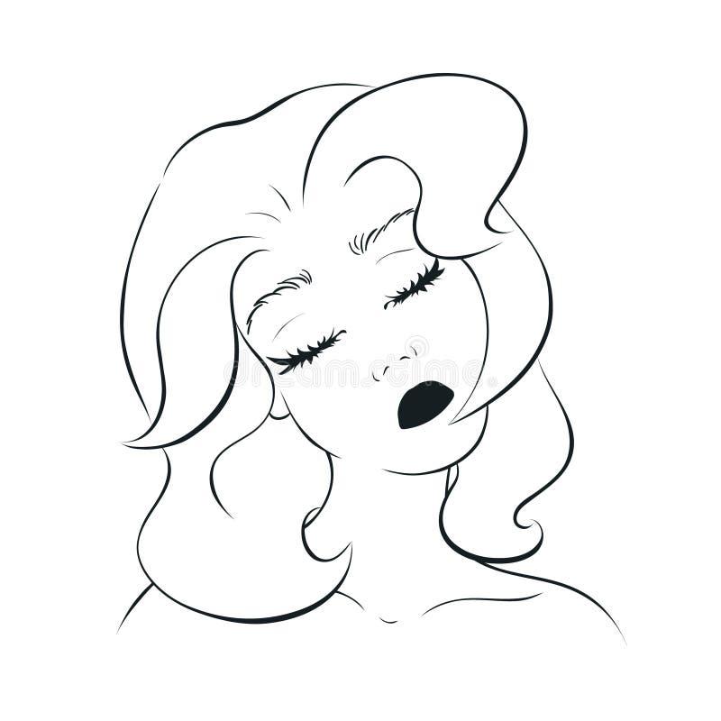 La mujer joven inclina su cabeza al hombro derecho stock de ilustración