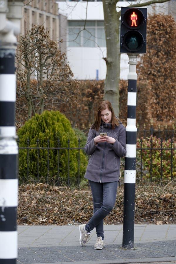La mujer joven mira su teléfono móvil y no presta la atención a fotografía de archivo libre de regalías