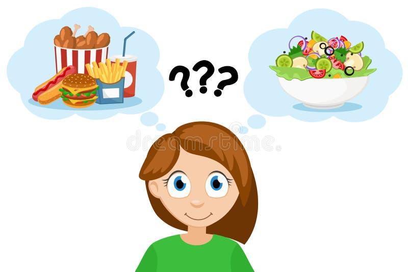 La mujer joven piensa que come los alimentos de preparación rápida o la ensalada con las verduras Dieta sana ilustración del vector