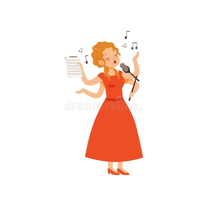 La mujer joven polivalente que canta con el micrófono, carácter del cantante con muchas manos vector el ejemplo en un blanco libre illustration