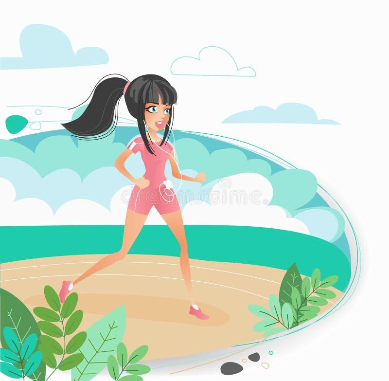 La mujer joven que activa en una muchacha hermosa de la playa que corre en la playa, forma de vida sana, deportes se beneficia, v stock de ilustración