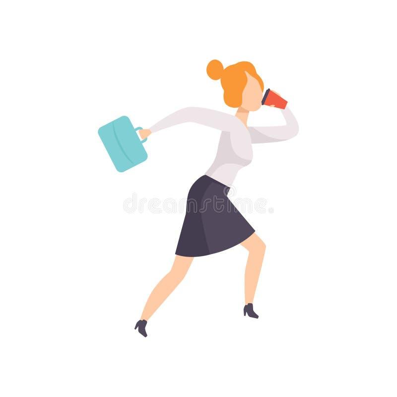 La mujer joven que habla por el teléfono mientras que corre para trabajar, carácter de la empresaria es atrasada para el ejemplo  libre illustration