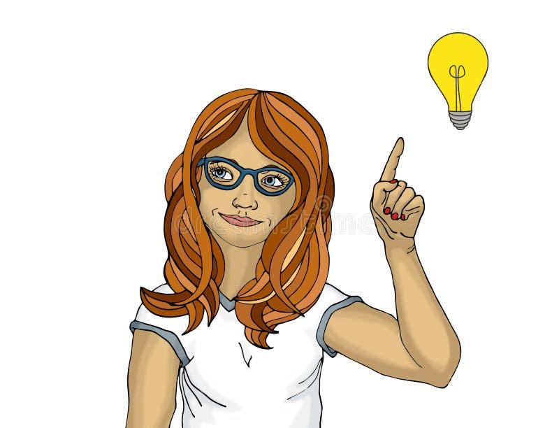 La mujer joven sorprendida y entusiasta señala con el índice libre illustration