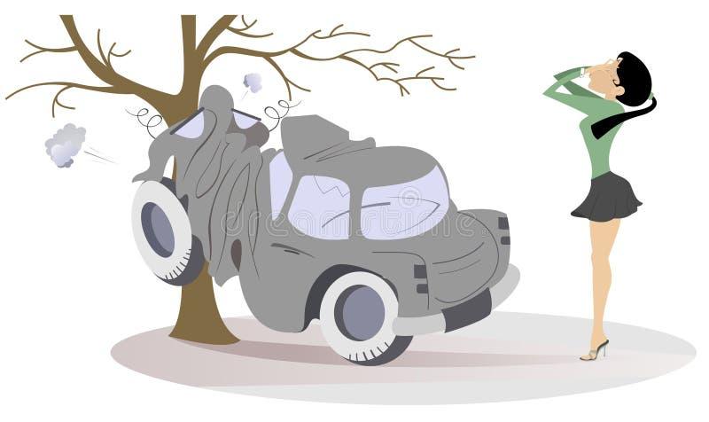 La mujer joven tiene en un ejemplo del accidente de carretera ilustración del vector