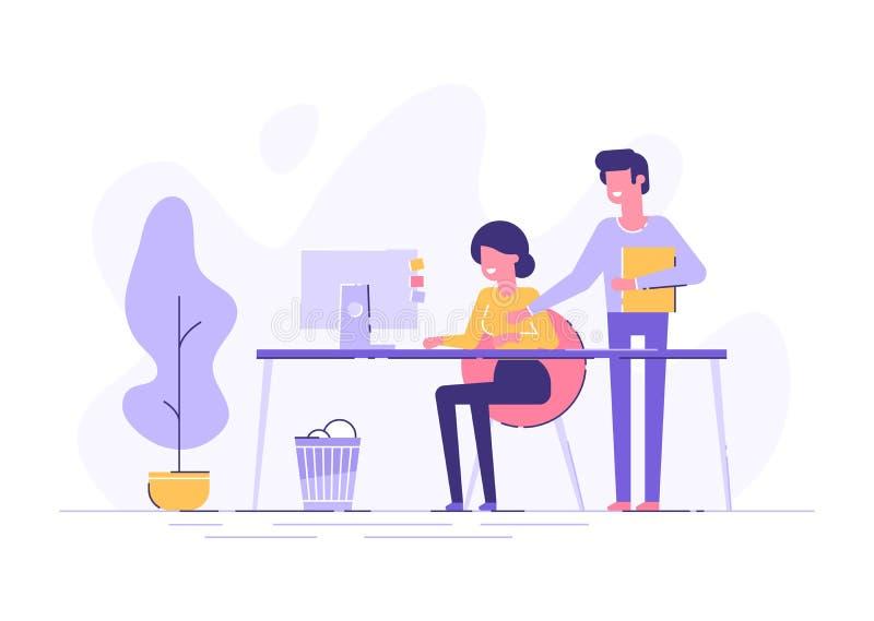 La mujer joven y su jefe está señalando a una pantalla ilustración del vector