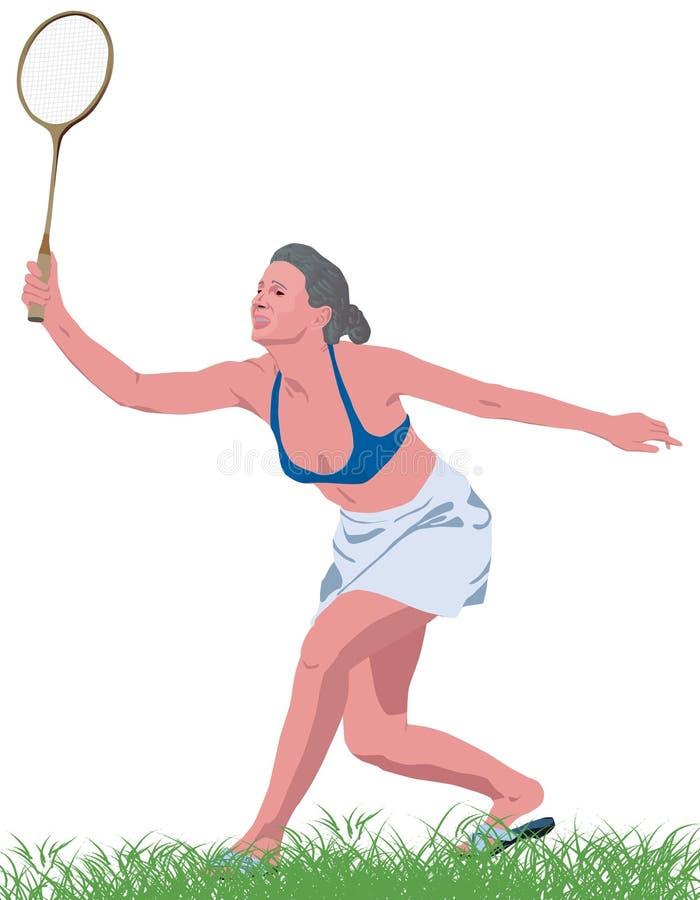 La mujer juega a bádminton imagen de archivo