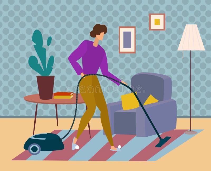 La mujer limpia la alfombra con la aspiradora y limpia la casa Tareas de hogar en casa ilustración del vector