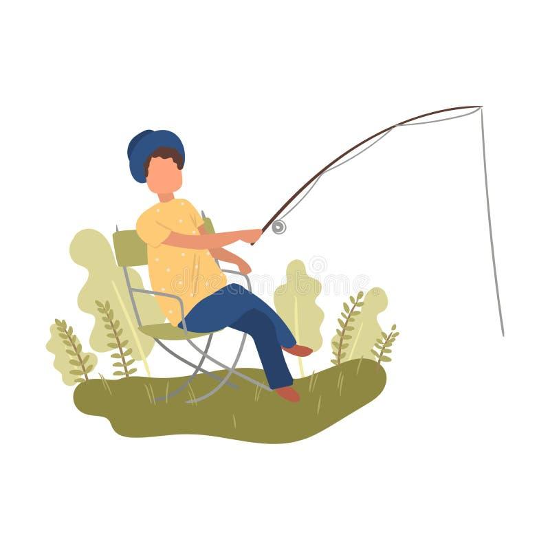 La mujer linda con el sombrero del verano está en la silla, pescando tiempo stock de ilustración