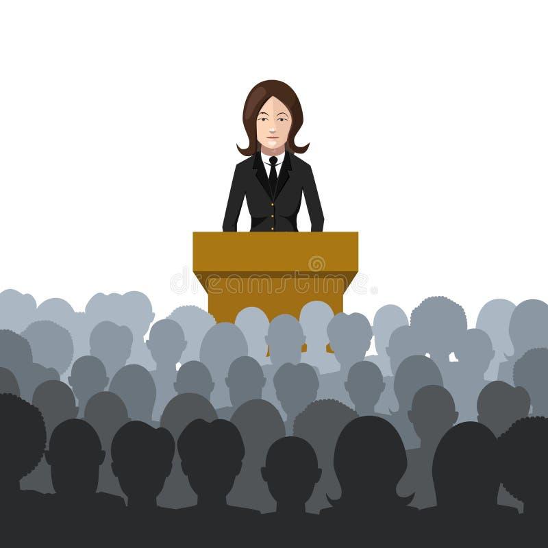 La mujer lleva a cabo una conferencia a un ejemplo plano de la audiencia ilustración del vector