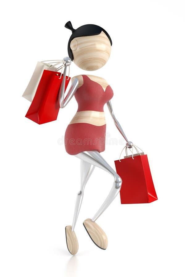 La mujer lleva compras de un almacén stock de ilustración