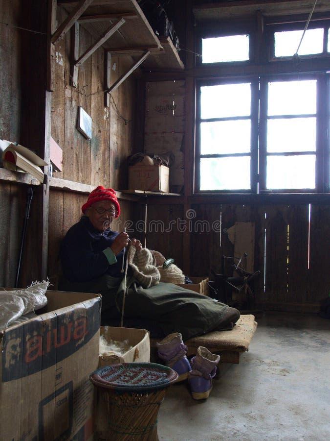 la mujer local del Sikkim-tibetano está trabajando en el pueblo, ci de Gangtok imagenes de archivo
