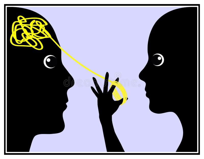 La mujer manipula al hombre ilustración del vector