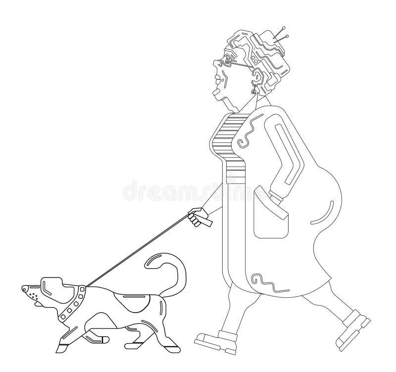 La mujer mayor camina con el perro en el fondo blanco Abuela agraciada Tiempo libre del pensionista Mujer mayor en perfil stock de ilustración