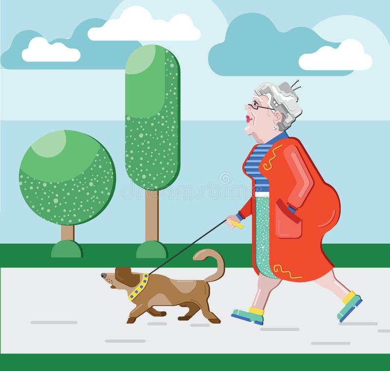 La mujer mayor camina con el perro en parque El pensionista camina con el perro Abuela agraciada Tiempo libre del pensionista Muj ilustración del vector