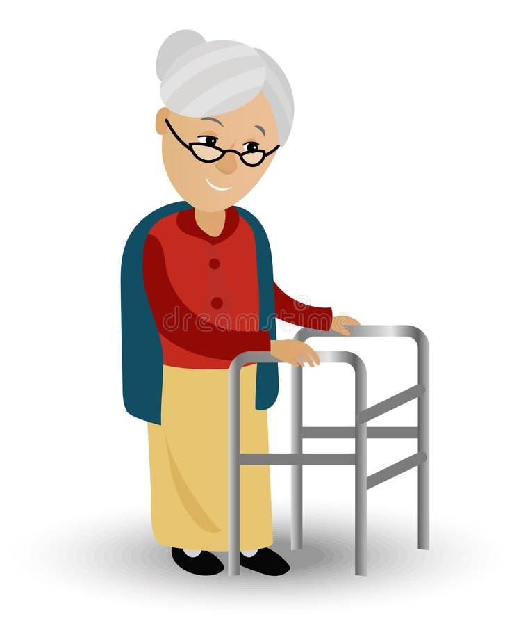 La mujer mayor en un caminante necesita asistencia médica Puede ilustrar los temas relacionados con la edad avanzada, el servicio stock de ilustración