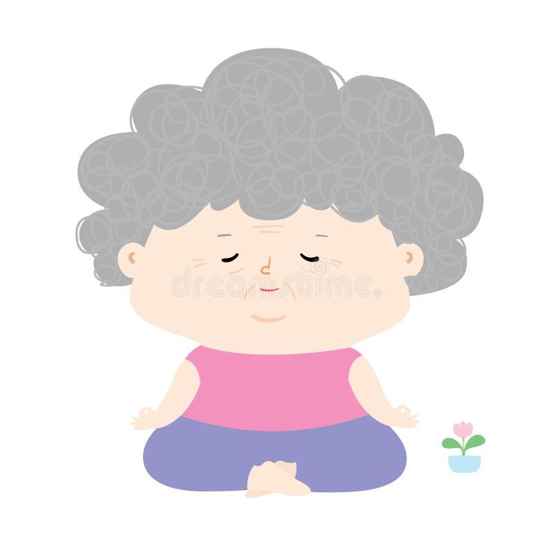 La mujer mayor hace la meditación foto de archivo libre de regalías