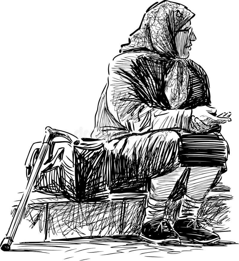 La mujer mayor pobre ilustración del vector