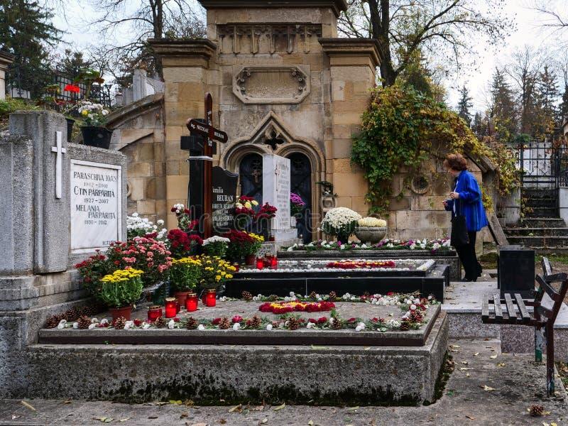 La mujer mayor se coloca en un sepulcro que paga respecto a los parientes difuntos imagen de archivo libre de regalías