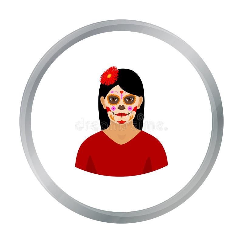 La mujer mexicana con calavera compone el icono en estilo de la historieta aislado en el fondo blanco Acción del símbolo del país stock de ilustración