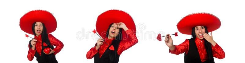 La mujer mexicana con la flecha del amor imagen de archivo