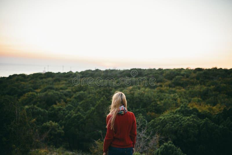La mujer mira adelante en el fondo del bosque fotografía de archivo libre de regalías