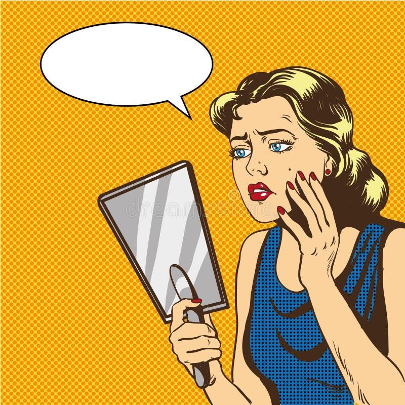 La mujer mira el ejemplo del vector del espejo en estilo cómico retro del arte pop Burbuja del discurso stock de ilustración