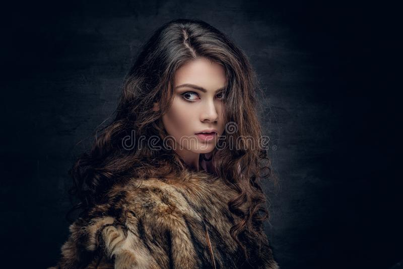 La mujer morena con el pelo rizado largo se vistió en un abrigo de pieles imagen de archivo libre de regalías