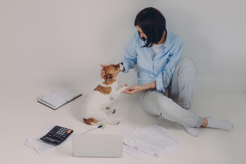 La mujer morena vestida ocasional, informe de la renta de los estudios, se sienta en piso con el ordenador portátil, documentos d foto de archivo libre de regalías