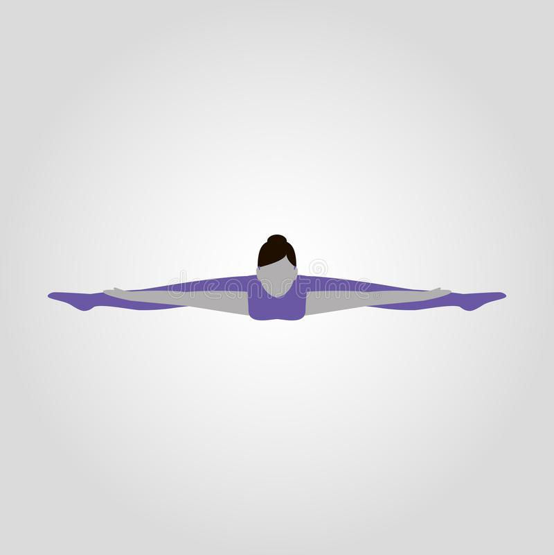 La mujer muestra la silueta plana aislada actitud del vector de la yoga stock de ilustración
